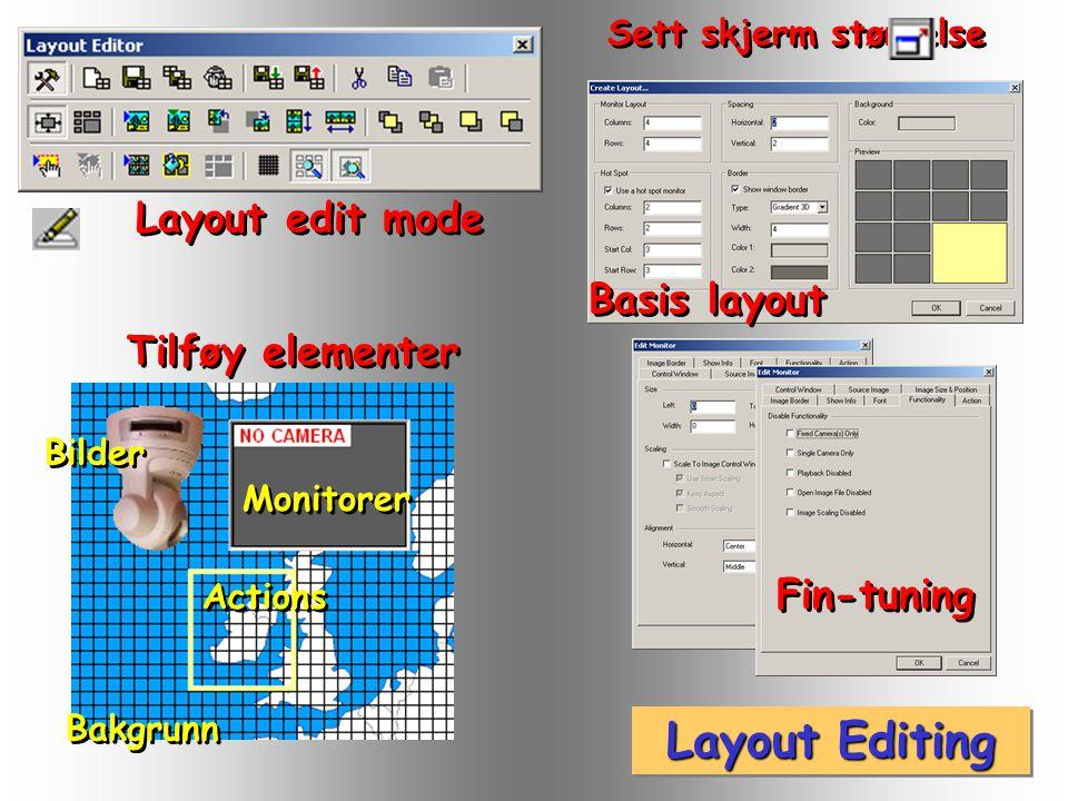 Layout oppsett Kamera i Monitor Switch Layout Hot Spot