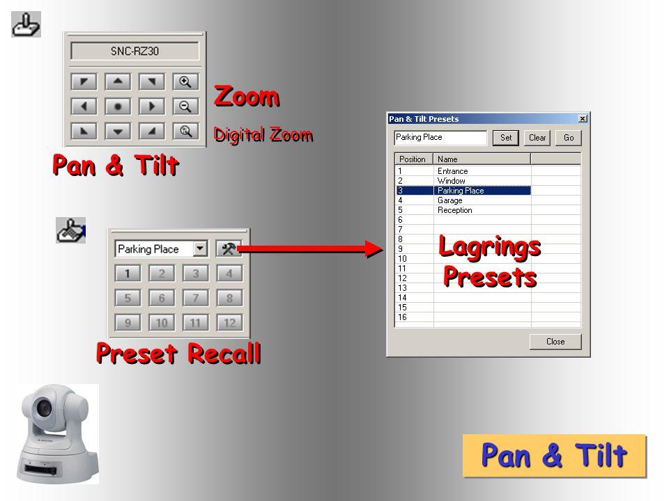 Pan & Tilt Zoom Digital Zoom Preset Recall Lagrings Presets Lagrings Presets