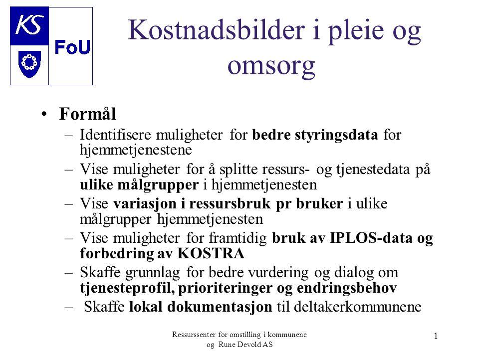 Ressurssenter for omstilling i kommunene og Rune Devold AS 1 Kostnadsbilder i pleie og omsorg •Formål –Identifisere muligheter for bedre styringsdata