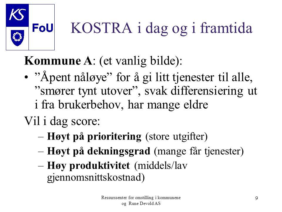 """Ressurssenter for omstilling i kommunene og Rune Devold AS 9 KOSTRA i dag og i framtida Kommune A: (et vanlig bilde): •""""Åpent nåløye"""" for å gi litt tj"""