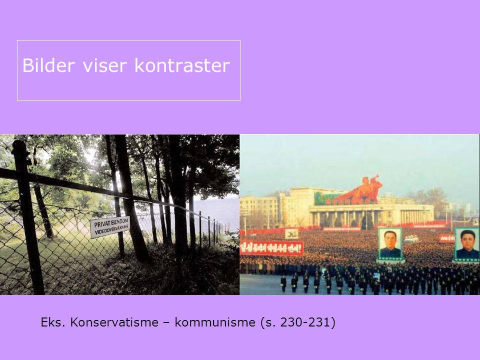 Bilder viser kontraster Eks. Konservatisme – kommunisme (s. 230-231)