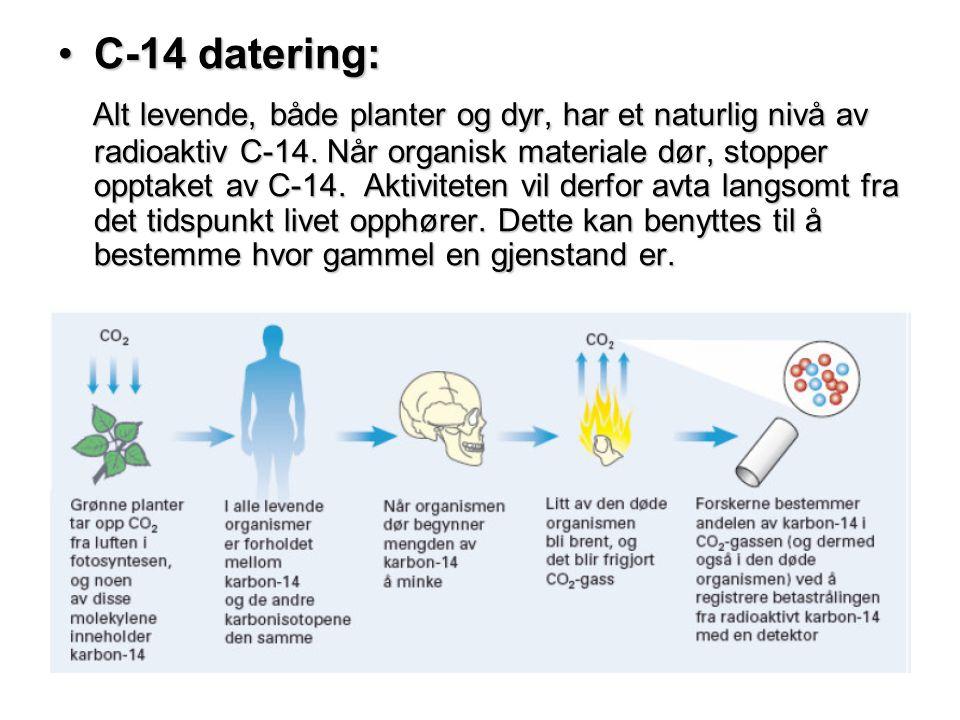 •C-14 datering: Alt levende, både planter og dyr, har et naturlig nivå av radioaktiv C-14. Når organisk materiale dør, stopper opptaket av C-14. Aktiv