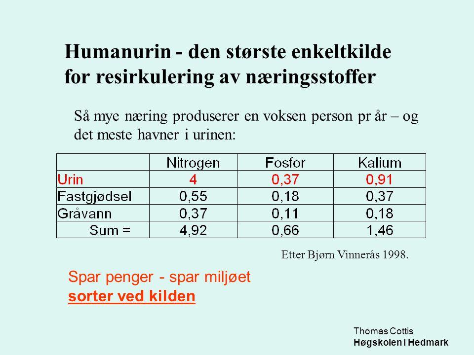 Thomas Cottis Høgskolen i Hedmark Humanurin - den største enkeltkilde for resirkulering av næringsstoffer Så mye næring produserer en voksen person pr