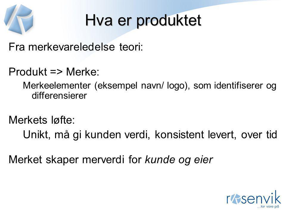 Hva er produktet Fra merkevareledelse teori: Produkt => Merke: Merkeelementer (eksempel navn/ logo), som identifiserer og differensierer Merkets løfte