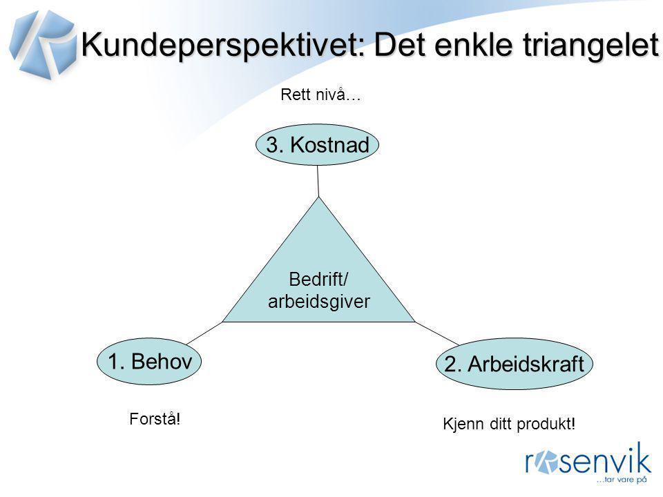 Kundeperspektivet: Det enkle triangelet Bedrift/ arbeidsgiver Forstå! 1. Behov 2. Arbeidskraft 3. Kostnad Kjenn ditt produkt! Rett nivå…