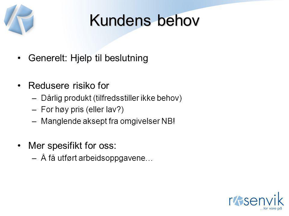 Kundens behov •Generelt: Hjelp til beslutning •Redusere risiko for –Dårlig produkt (tilfredsstiller ikke behov) –For høy pris (eller lav?) –Manglende