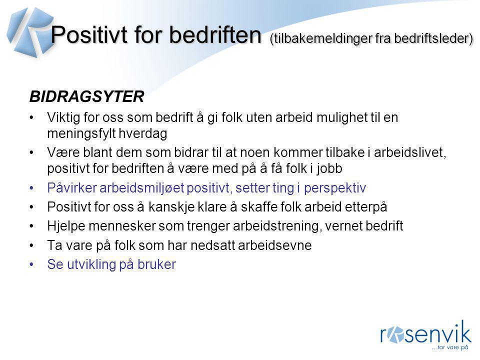 Positivt for bedriften (tilbakemeldinger fra bedriftsleder) BIDRAGSYTER •Viktig for oss som bedrift å gi folk uten arbeid mulighet til en meningsfylt