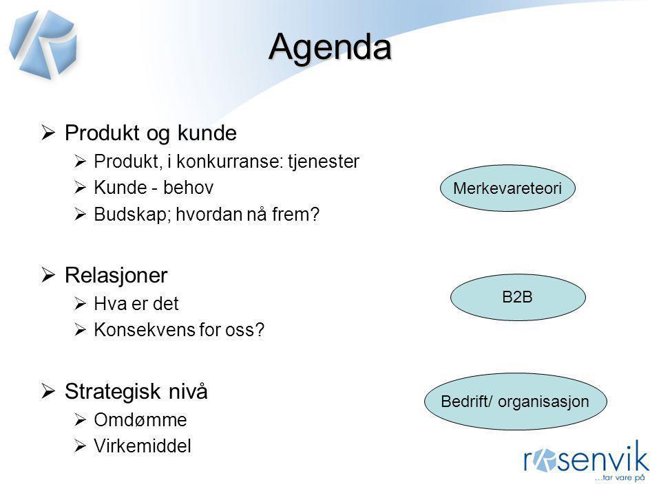 Agenda  Produkt og kunde  Produkt, i konkurranse: tjenester  Kunde - behov  Budskap; hvordan nå frem?  Relasjoner  Hva er det  Konsekvens for o