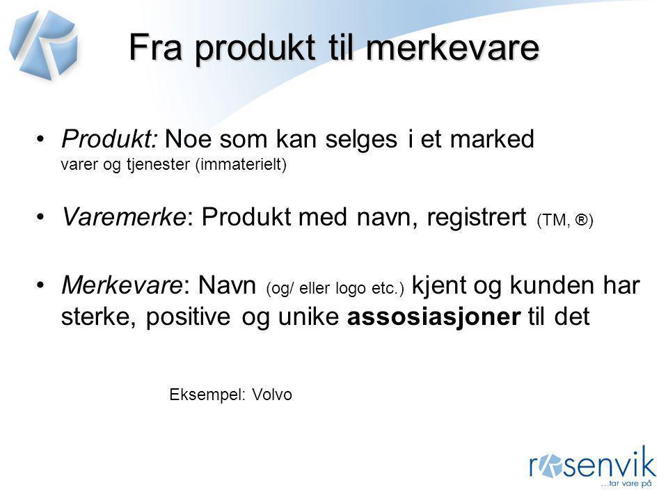 Fra produkt til merkevare •Produkt: Noe som kan selges i et marked varer og tjenester (immaterielt) •Varemerke: Produkt med navn, registrert (TM, ®) •