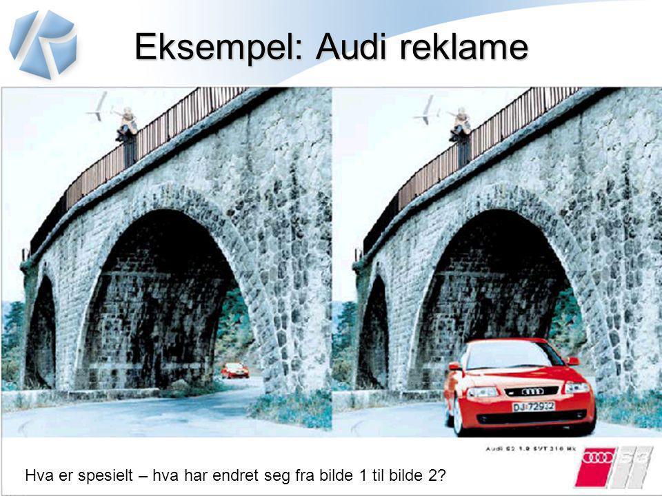Eksempel: Audi reklame Hva er spesielt – hva har endret seg fra bilde 1 til bilde 2?
