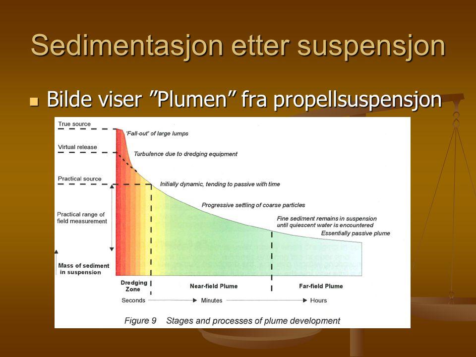 Sedimentasjon etter suspensjon  Bilde viser Plumen fra propellsuspensjon