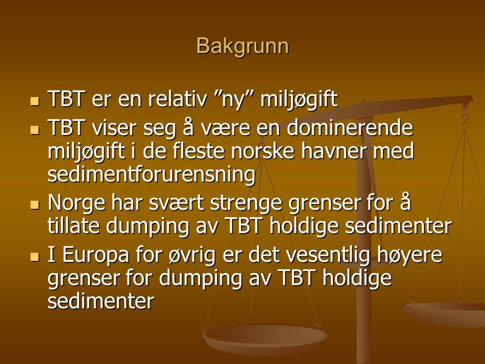 Bakgrunn  TBT er en relativ ny miljøgift  TBT viser seg å være en dominerende miljøgift i de fleste norske havner med sedimentforurensning  Norge har svært strenge grenser for å tillate dumping av TBT holdige sedimenter  I Europa for øvrig er det vesentlig høyere grenser for dumping av TBT holdige sedimenter