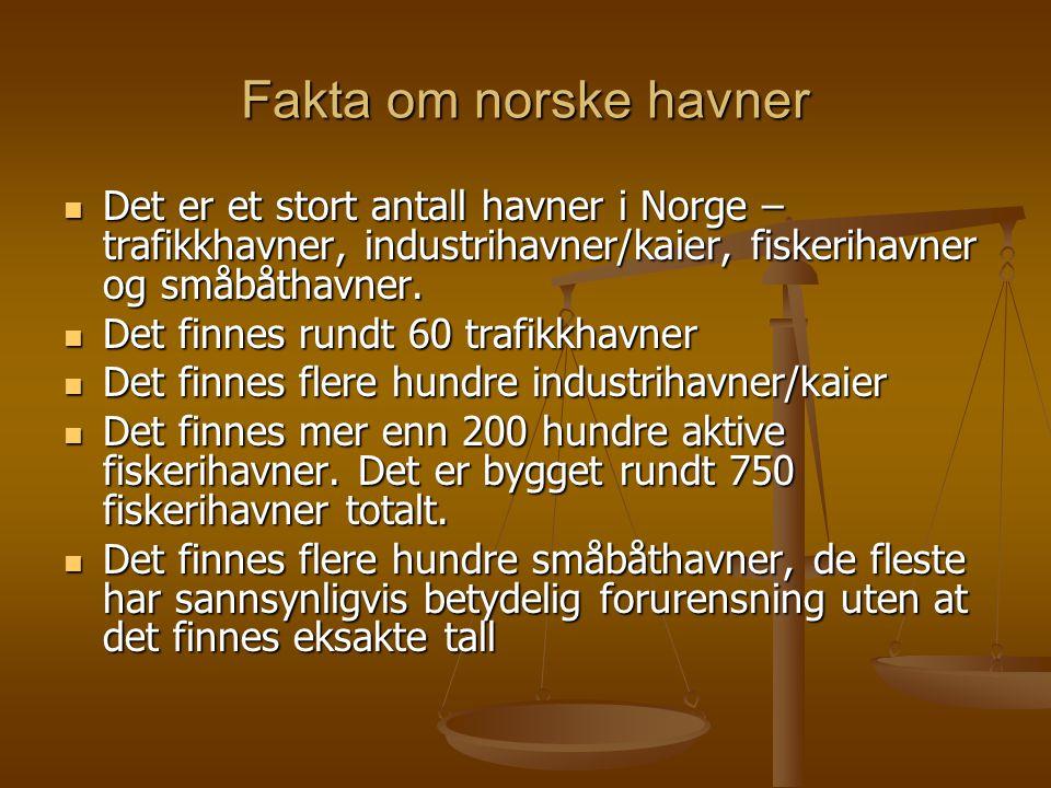 Fakta om norske havner  Det er et stort antall havner i Norge – trafikkhavner, industrihavner/kaier, fiskerihavner og småbåthavner.