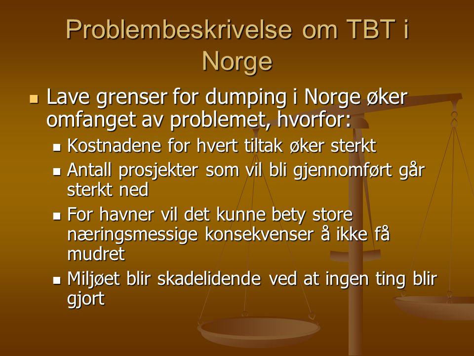 Problembeskrivelse om TBT i Norge  Lave grenser for dumping i Norge øker omfanget av problemet, hvorfor:  Kostnadene for hvert tiltak øker sterkt  Antall prosjekter som vil bli gjennomført går sterkt ned  For havner vil det kunne bety store næringsmessige konsekvenser å ikke få mudret  Miljøet blir skadelidende ved at ingen ting blir gjort