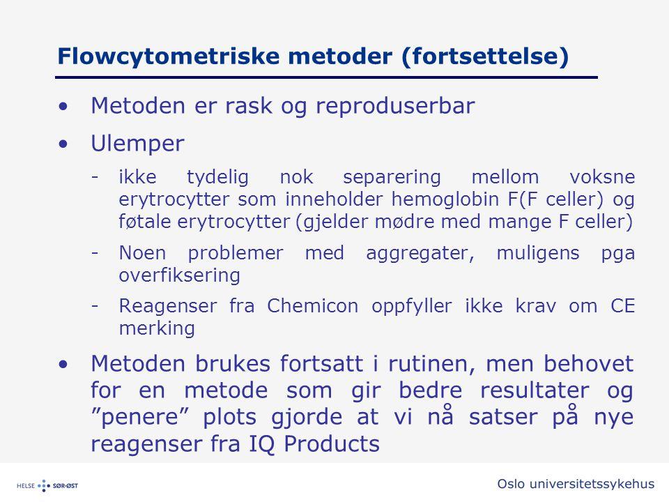 Flowcytometriske metoder (fortsettelse) •Metoden er rask og reproduserbar •Ulemper -ikke tydelig nok separering mellom voksne erytrocytter som innehol