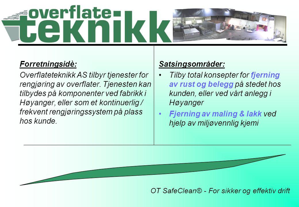 OT SafeClean® - For sikker og effektiv drift Forretningsidè: Overflateteknikk AS tilbyr tjenester for rengjøring av overflater. Tjenesten kan tilbydes