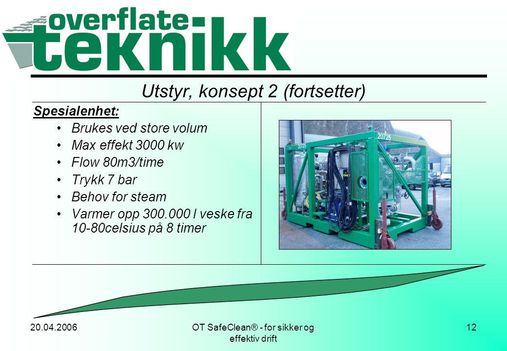 20.04.2006OT SafeClean® - for sikker og effektiv drift 12 Utstyr, konsept 2 (fortsetter) Spesialenhet: •Brukes ved store volum •Max effekt 3000 kw •Fl