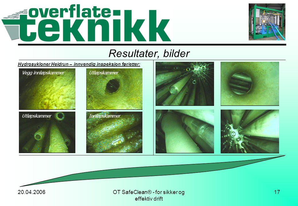 20.04.2006OT SafeClean® - for sikker og effektiv drift 17 Resultater, bilder Hydrosykloner Heidrun – innvendig inspeksjon før/etter: Vegg innløpskamme