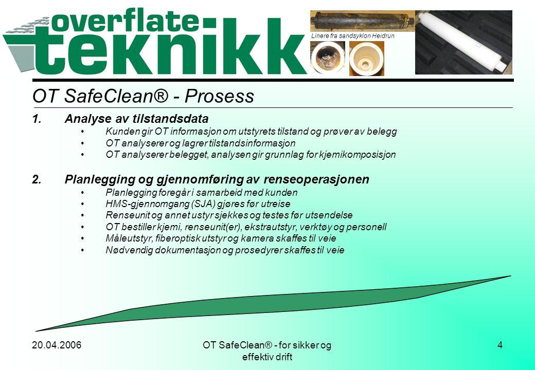 20.04.2006OT SafeClean® - for sikker og effektiv drift 15 Resultater, bilder Komponenter gjort ved fabrikk: Grenrør Ventil