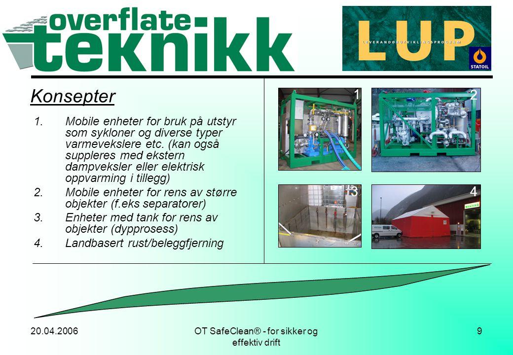 20.04.2006OT SafeClean® - for sikker og effektiv drift 10 Utstyr (konsept 1) Enhet levert av Østerbø Maskin AS, vår 05: Prinsippskisse: