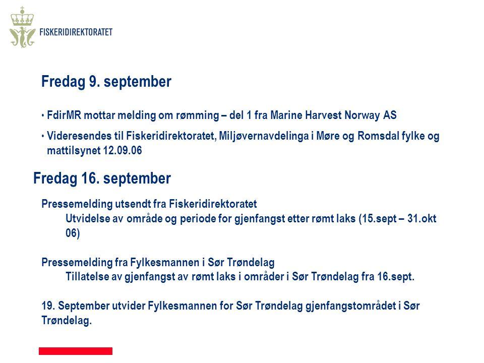 Fredag 9. september • FdirMR mottar melding om rømming – del 1 fra Marine Harvest Norway AS • Videresendes til Fiskeridirektoratet, Miljøvernavdelinga