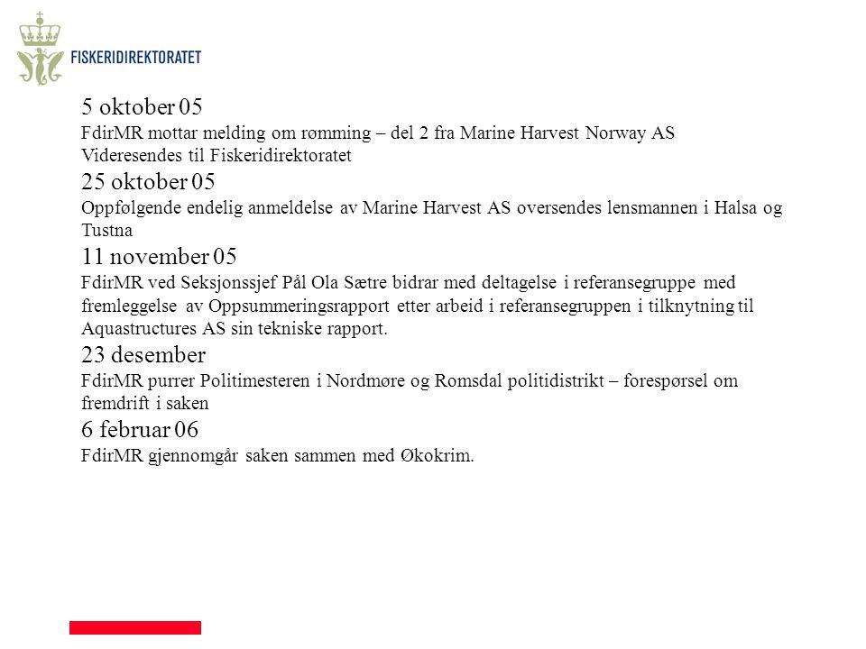 5 oktober 05 FdirMR mottar melding om rømming – del 2 fra Marine Harvest Norway AS Videresendes til Fiskeridirektoratet 25 oktober 05 Oppfølgende ende