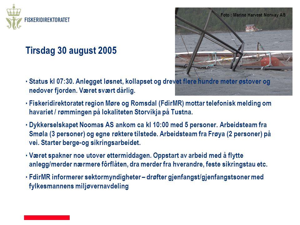 Tirsdag 30 august 2005 • Status kl 07:30. Anlegget løsnet, kollapset og drevet flere hundre meter østover og nedover fjorden. Været svært dårlig. • Fi