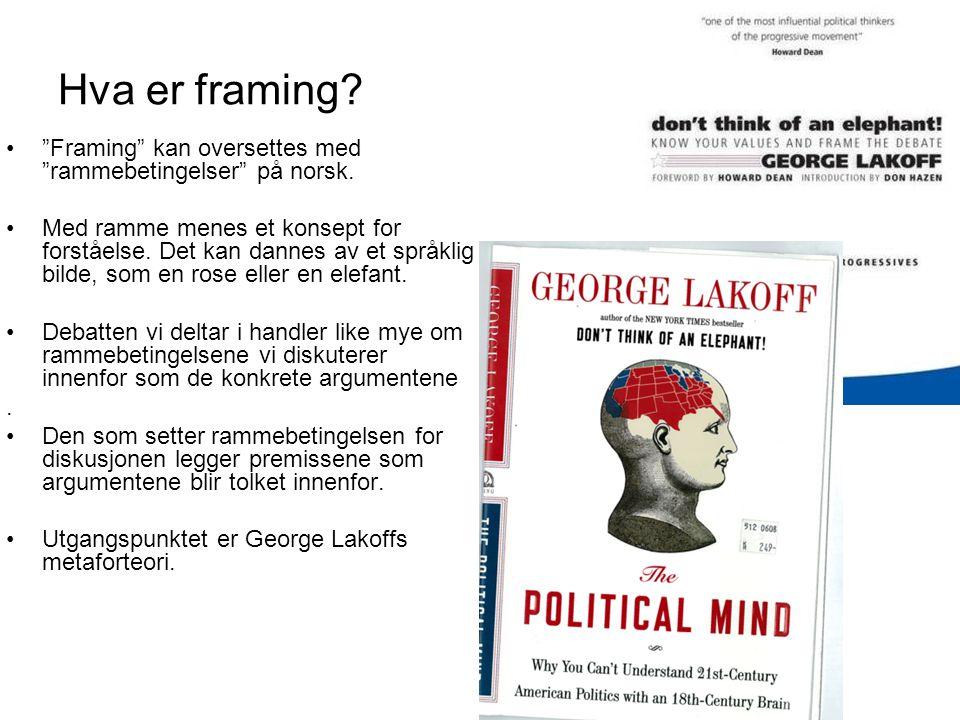 Hva er framing.• Framing kan oversettes med rammebetingelser på norsk.