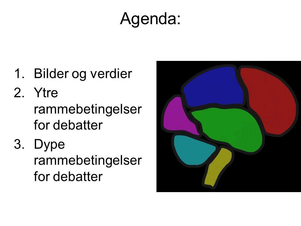 Agenda: 1.Bilder og verdier 2.Ytre rammebetingelser for debatter 3.Dype rammebetingelser for debatter