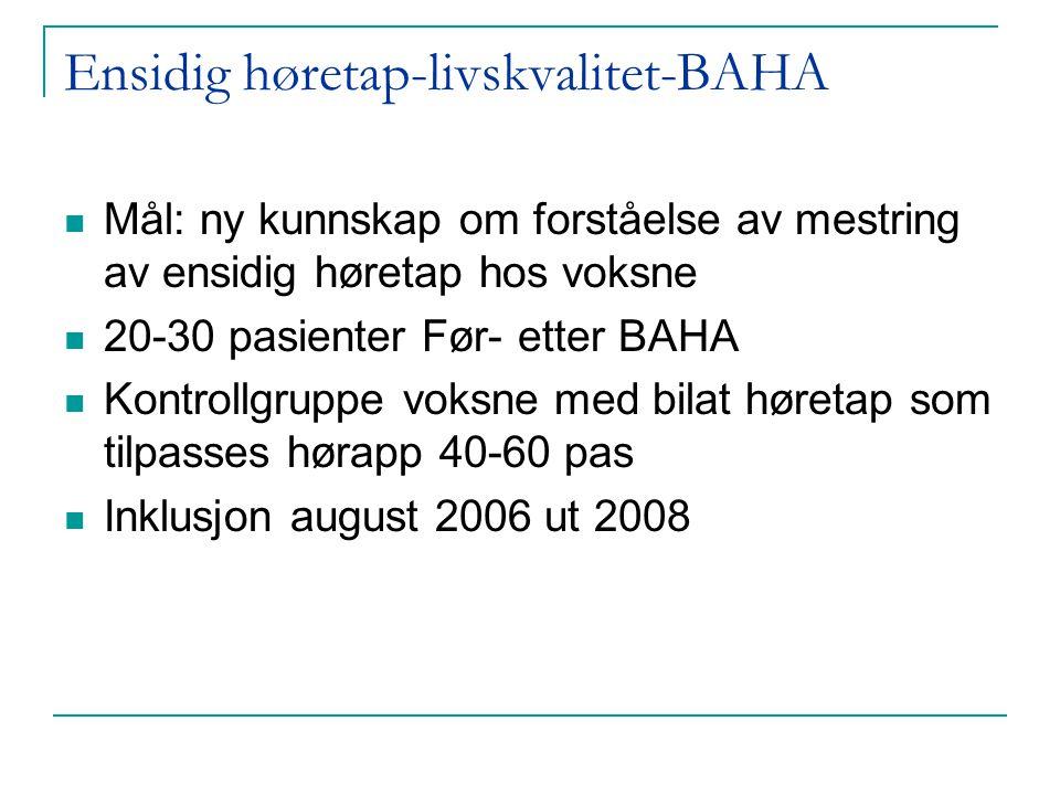 Ensidig høretap-livskvalitet-BAHA  Mål: ny kunnskap om forståelse av mestring av ensidig høretap hos voksne  20-30 pasienter Før- etter BAHA  Kontr