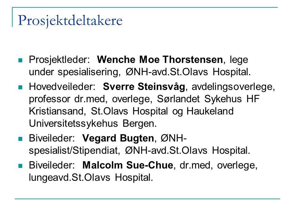 Prosjektdeltakere  Prosjektleder: Wenche Moe Thorstensen, lege under spesialisering, ØNH-avd.St.Olavs Hospital.  Hovedveileder: Sverre Steinsvåg, av