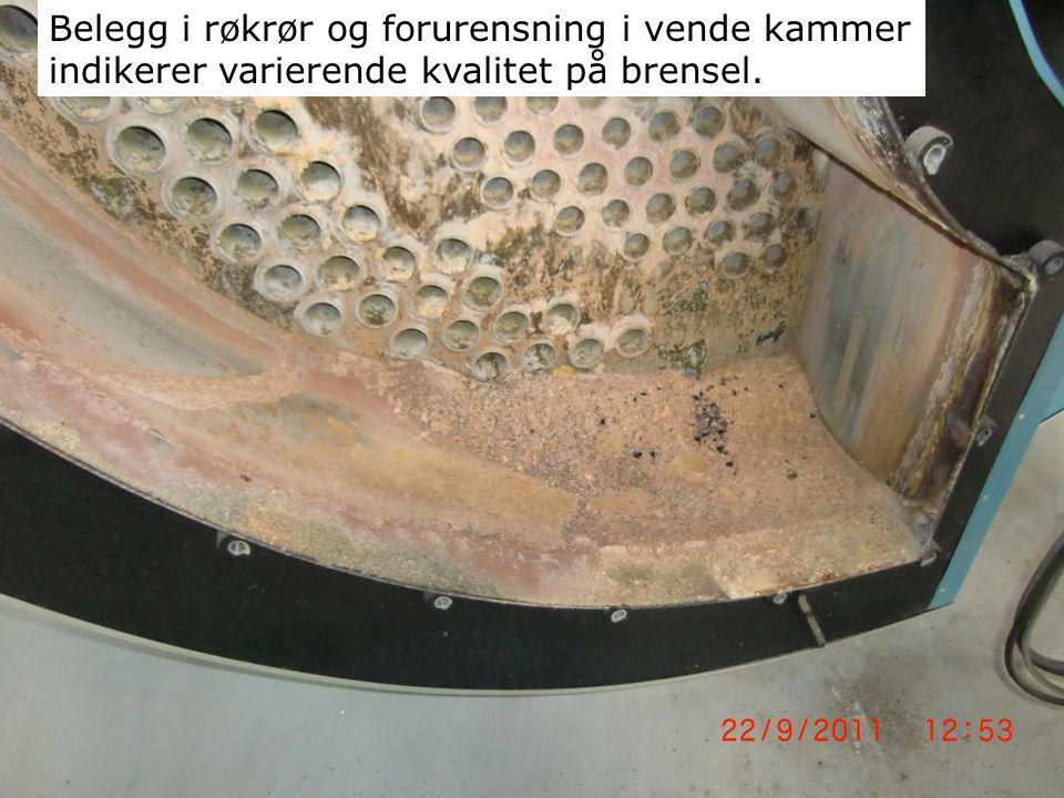 Belegg i røkrør og forurensning i vende kammer indikerer varierende kvalitet på brensel.