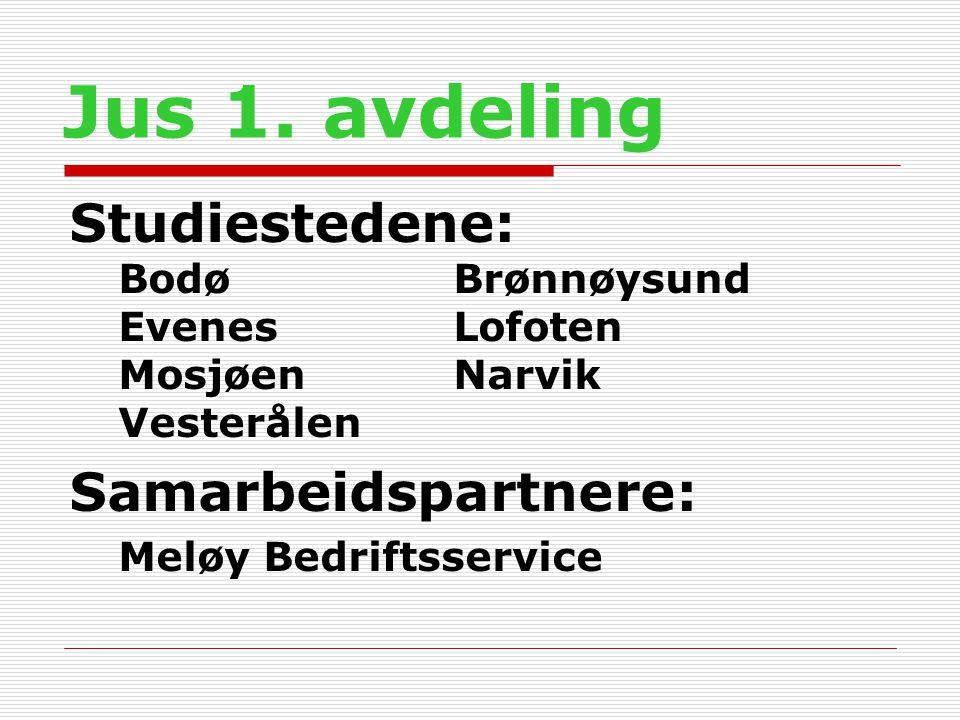 Jus 1. avdeling Studiestedene: BodøBrønnøysund Evenes Lofoten MosjøenNarvik Vesterålen Samarbeidspartnere: Meløy Bedriftsservice