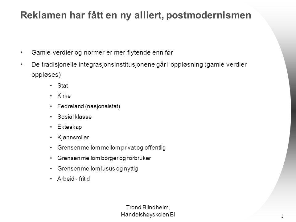 Trond Blindheim, Handelshøyskolen BI 13 Hva sier Norsk Monitor, PC-Gallup og Minerva.