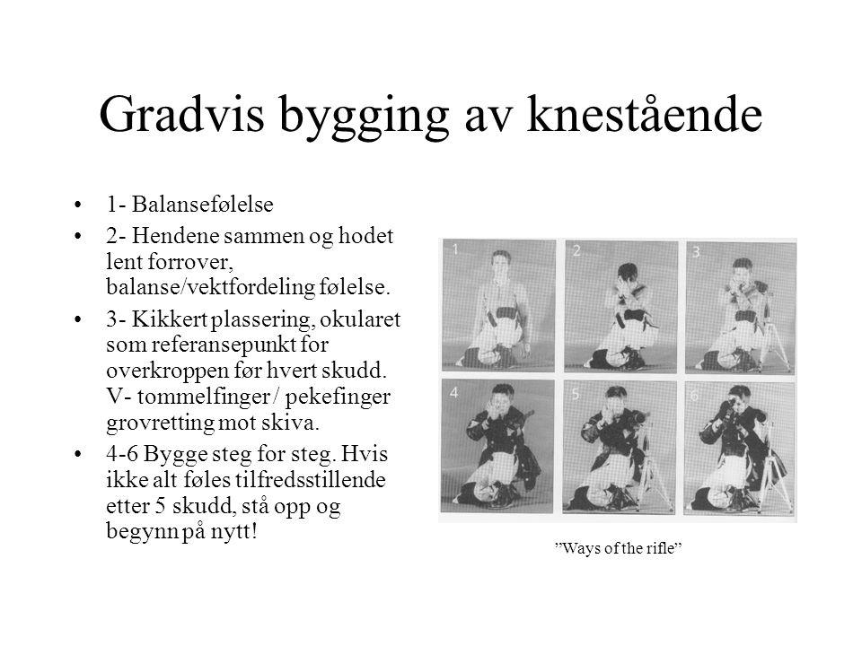 Gradvis bygging av knestående •1- Balansefølelse •2- Hendene sammen og hodet lent forrover, balanse/vektfordeling følelse.