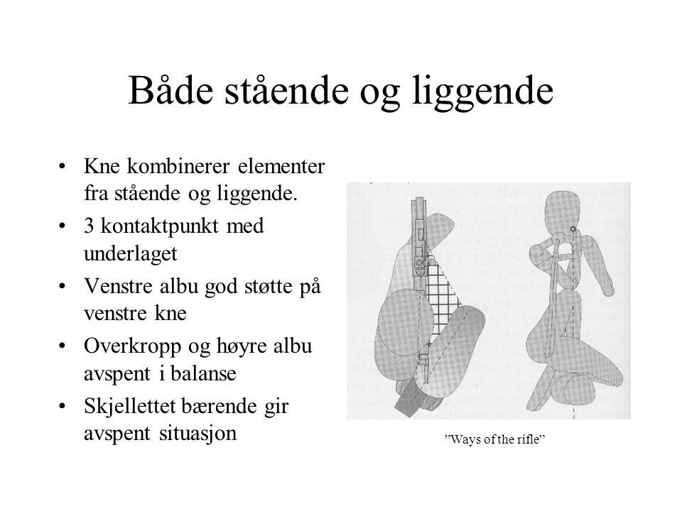 Både stående og liggende •Kne kombinerer elementer fra stående og liggende. •3 kontaktpunkt med underlaget •Venstre albu god støtte på venstre kne •Ov