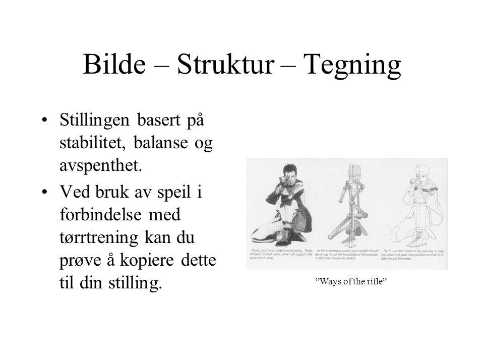 Bilde – Struktur – Tegning •Stillingen basert på stabilitet, balanse og avspenthet. •Ved bruk av speil i forbindelse med tørrtrening kan du prøve å ko