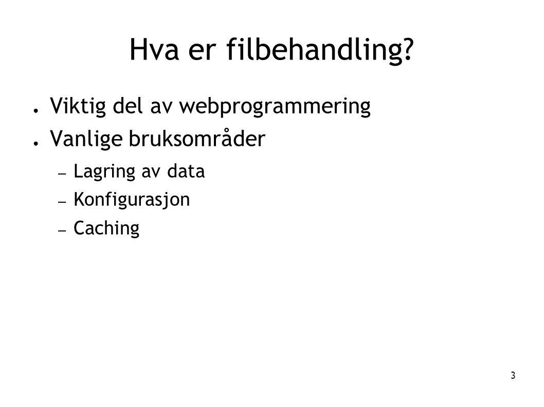 3 Hva er filbehandling? ● Viktig del av webprogrammering ● Vanlige bruksområder – Lagring av data – Konfigurasjon – Caching