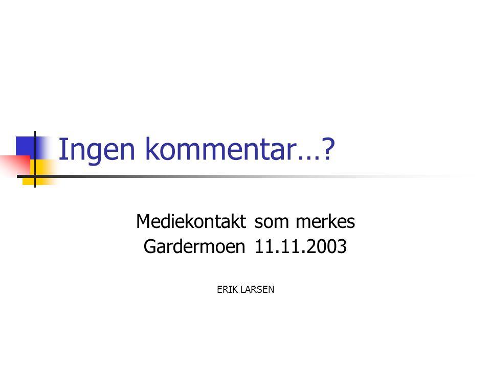 Ingen kommentar… Mediekontakt som merkes Gardermoen 11.11.2003 ERIK LARSEN