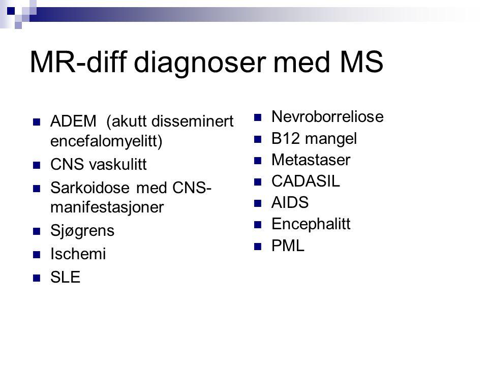 MR-diff diagnoser med MS  ADEM (akutt disseminert encefalomyelitt)  CNS vaskulitt  Sarkoidose med CNS- manifestasjoner  Sjøgrens  Ischemi  SLE 