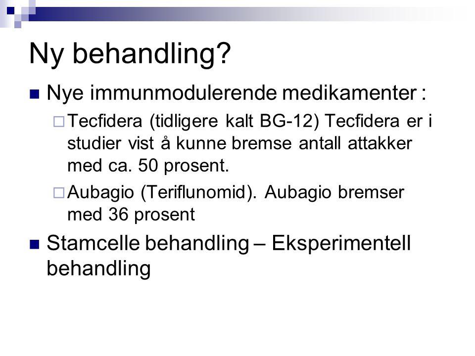 Ny behandling?  Nye immunmodulerende medikamenter :  Tecfidera (tidligere kalt BG-12) Tecfidera er i studier vist å kunne bremse antall attakker med