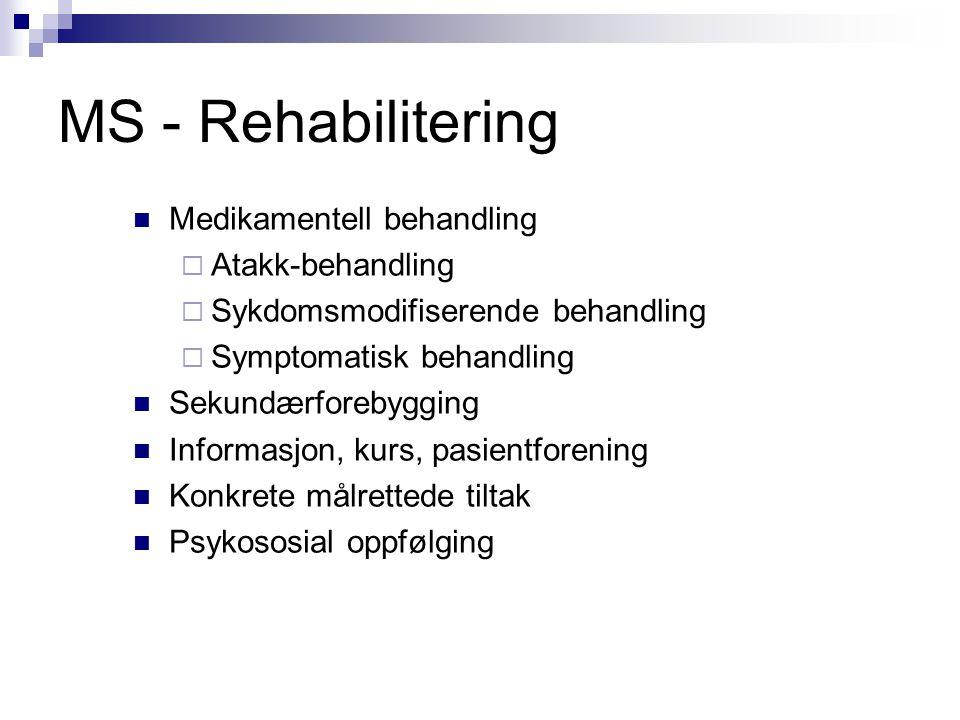 MS - Rehabilitering  Medikamentell behandling  Atakk-behandling  Sykdomsmodifiserende behandling  Symptomatisk behandling  Sekundærforebygging 