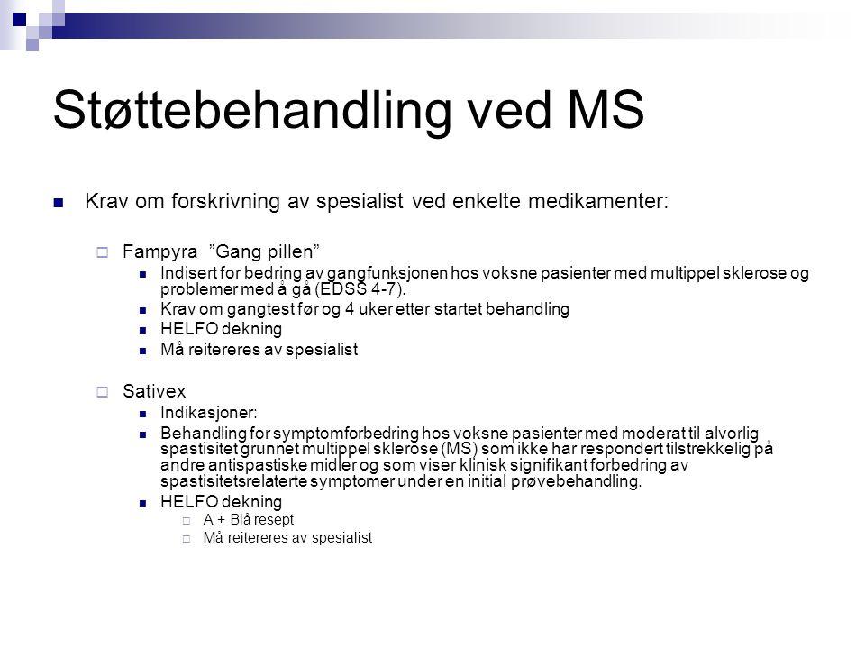 """Støttebehandling ved MS  Krav om forskrivning av spesialist ved enkelte medikamenter:  Fampyra """"Gang pillen""""  Indisert for bedring av gangfunksjone"""