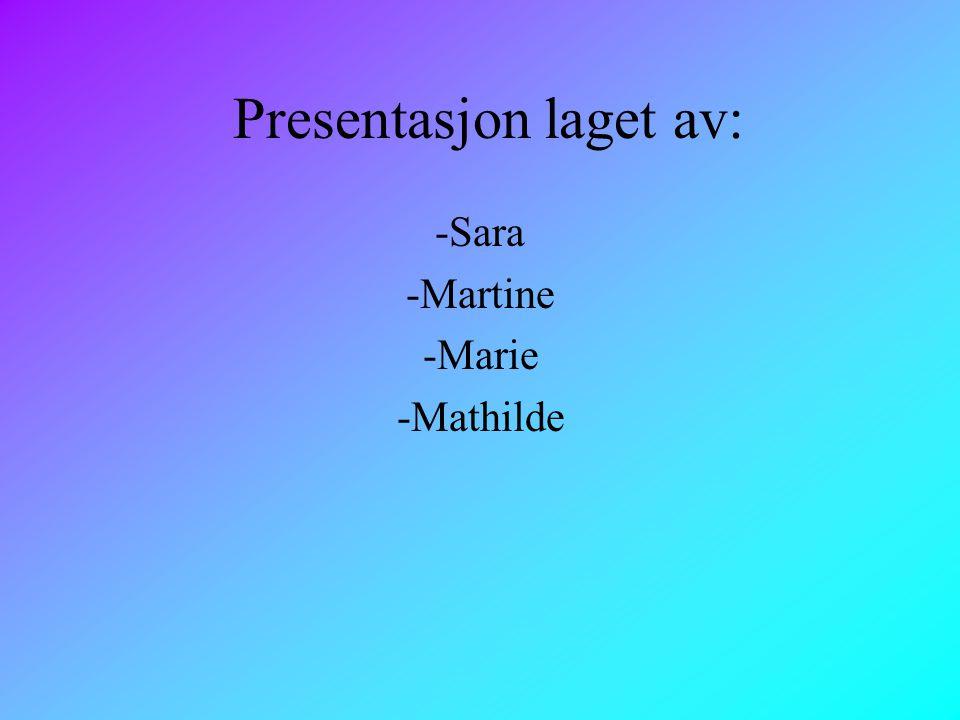 Presentasjon laget av: -Sara -Martine -Marie -Mathilde