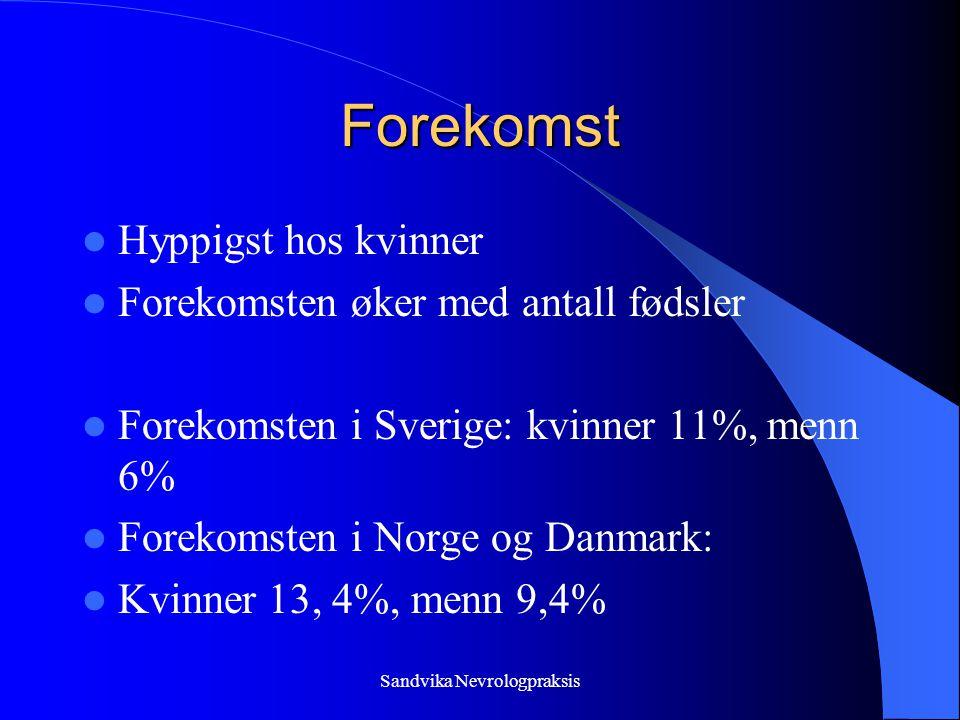 Sandvika Nevrologpraksis Forekomst  Hyppigst hos kvinner  Forekomsten øker med antall fødsler  Forekomsten i Sverige: kvinner 11%, menn 6%  Forekomsten i Norge og Danmark:  Kvinner 13, 4%, menn 9,4%