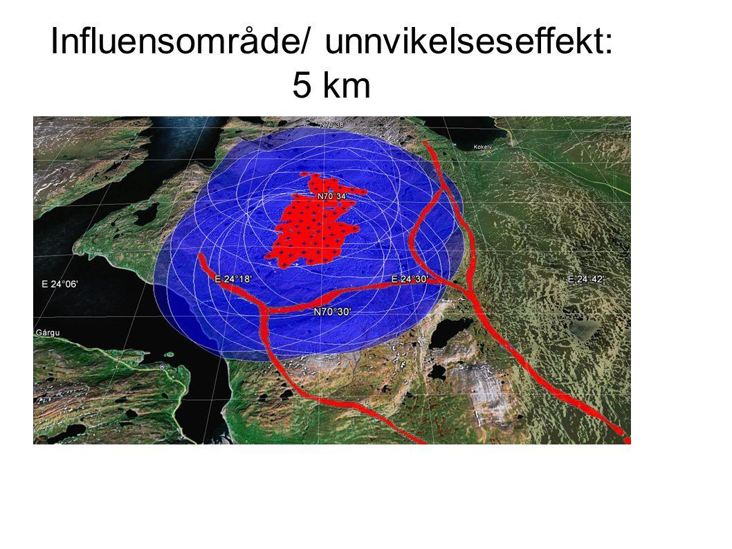 Influensområde/ unnvikelseseffekt: 5 km