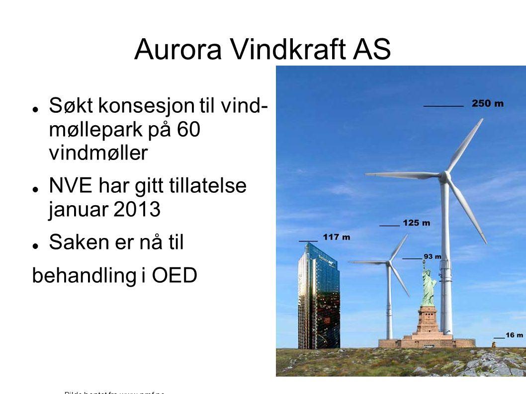 Aurora Vindkraft AS  Søkt konsesjon til vind- møllepark på 60 vindmøller  NVE har gitt tillatelse januar 2013  Saken er nå til behandling i OED Bil