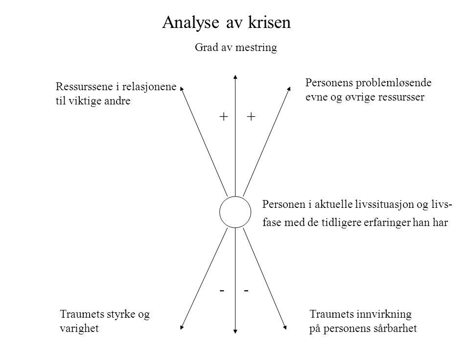 Analyse av krisen Personen i aktuelle livssituasjon og livs- fase med de tidligere erfaringer han har Traumets styrke og varighet Traumets innvirkning