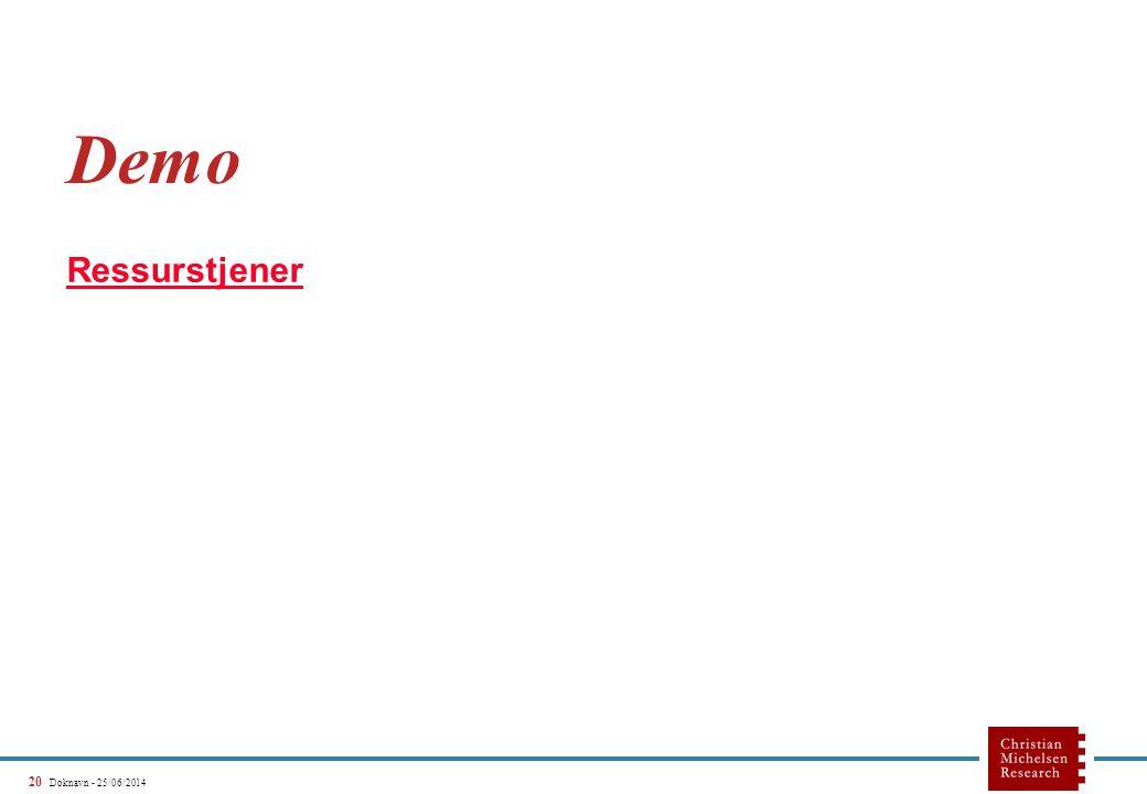 20 Doknavn - 25/06/2014 Demo Ressurstjener