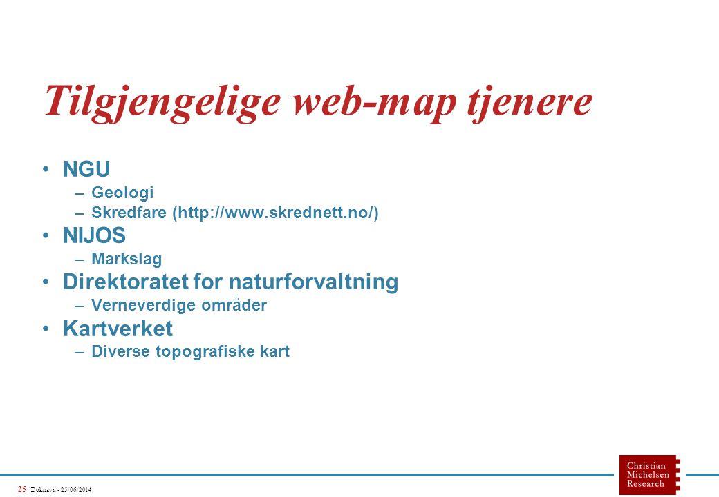 25 Doknavn - 25/06/2014 Tilgjengelige web-map tjenere •NGU –Geologi –Skredfare (http://www.skrednett.no/) •NIJOS –Markslag •Direktoratet for naturforvaltning –Verneverdige områder •Kartverket –Diverse topografiske kart